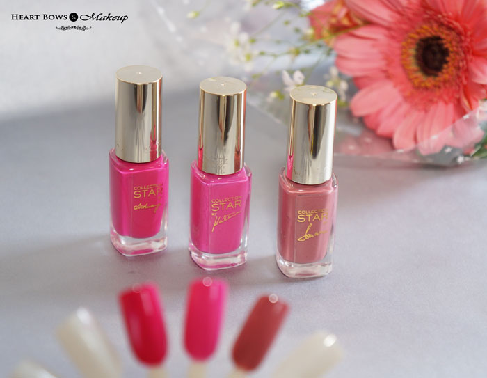 L'Oreal Paris Collection Star Pink Sonam Katrina Aishwarya Nail Polish Review Swatches