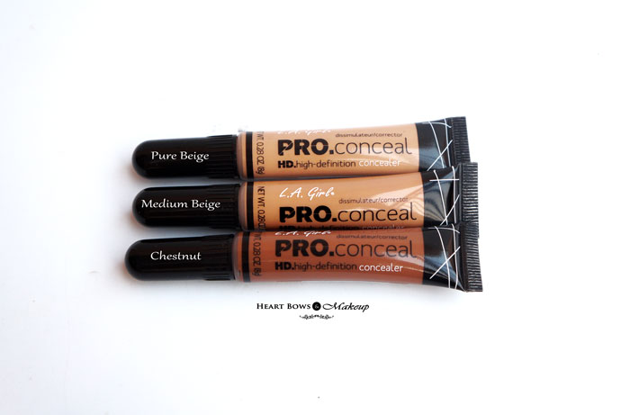 L.A. Girl Pro HD Concealer Pure Beige Medium Beige Chestnut Review Swatches Buy India