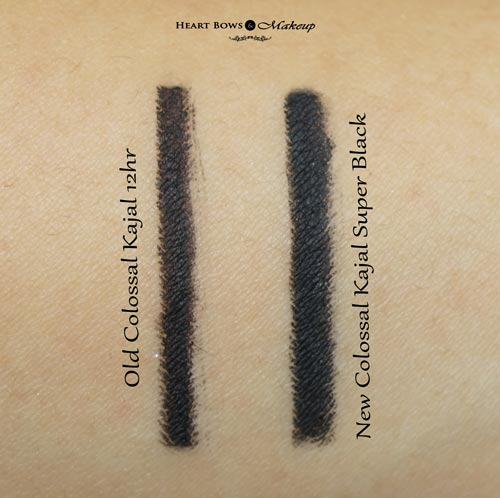 Maybelline Colossal Kajal Super Black Swatch Review Vs Old Maybelline Colossal Kajal 12hr Swatch