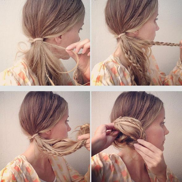 Cute Side Braid Bun Easy Summer Hairstyles
