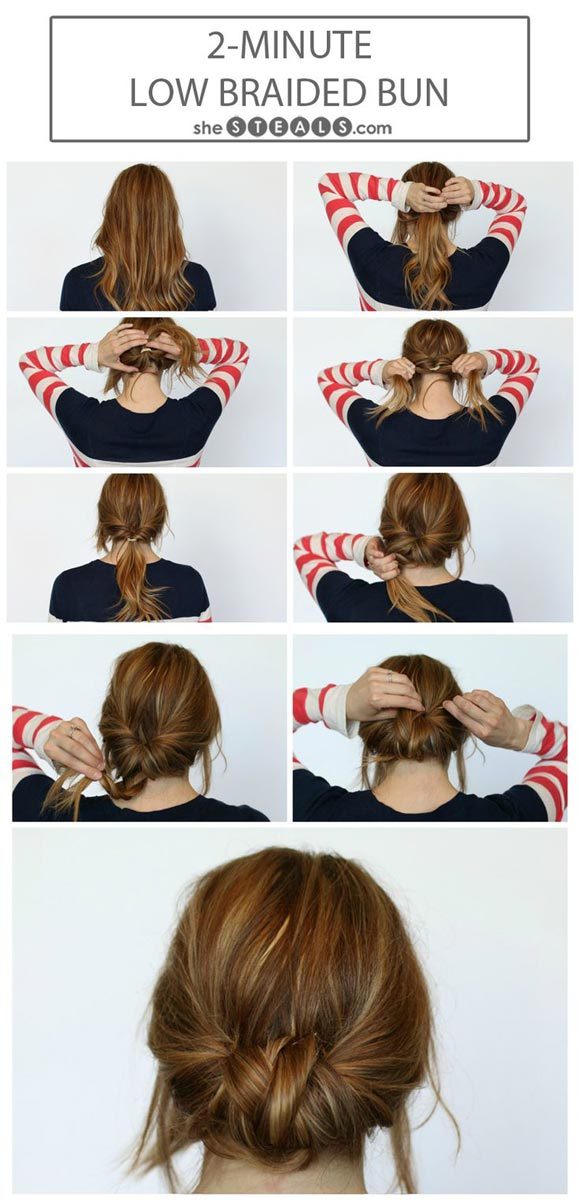 Cute Hairstyle For Summers 2 Minute Low Braided Bun