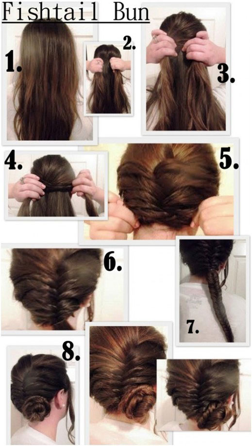 Easy Bun Hairstyles For Summers Fishtail Bun Tutorial