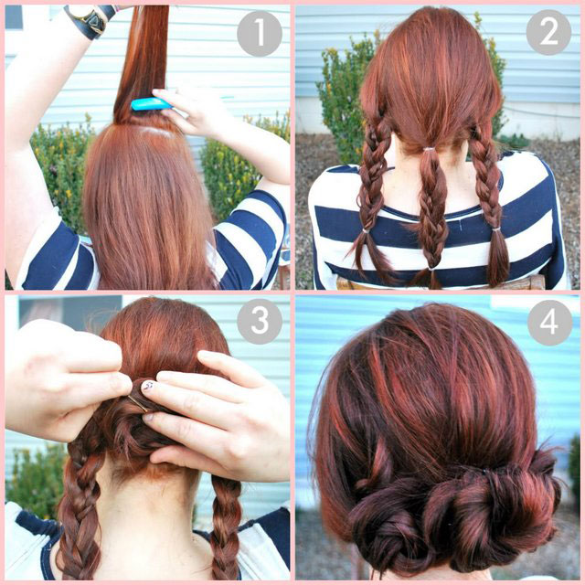 Easy Cute Summer Hairstyles 3 Braid Bun Tutorial