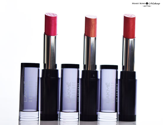 Lakme Absolute Illuminating Lip Shimmer Lipsticks Review Shades Swatches