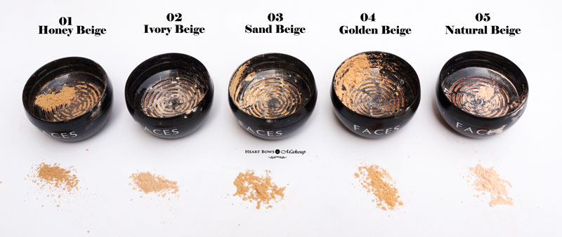 All Faces Mineral Loose Powder Shades Swatches Review