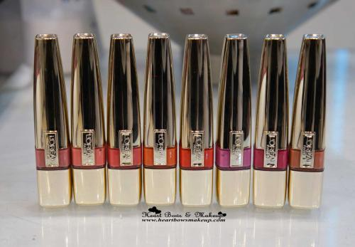 All L'Oreal Paris Shine Caresse Lip Glosses Swatches: Lolita Venus Bella Faye Juliette Milady Eve Pretty Woman