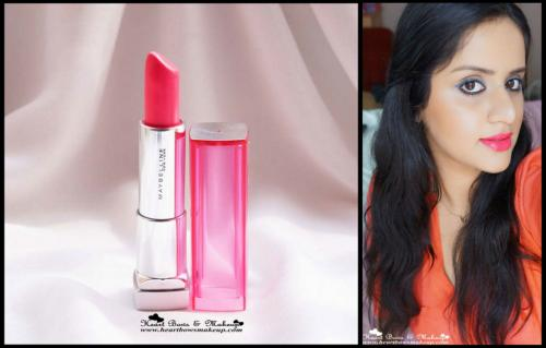 Maybelline Pink Alert Lipstick POW 4 Review- The Best Coral Lipstick in India