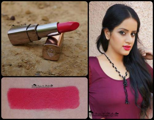 L'Oreal Color Riche Moist Matte Raspberry Syrup Lipstick Review & Swatches: MAC All Fired Up Dupe