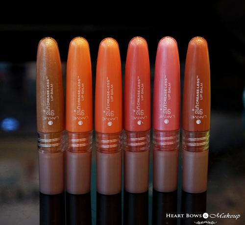 Lakme 9 to 5 Crease Less Lip Balms Swatches & Price