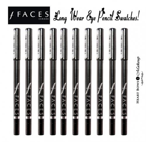 Faces Canada Long Wear Eye Pencil Swatches, Shades & Price