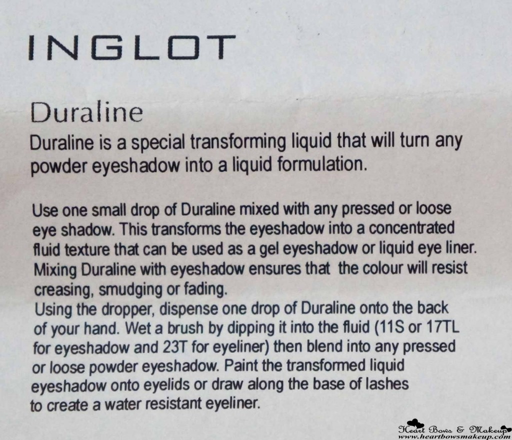 how to use Inglot Duraline