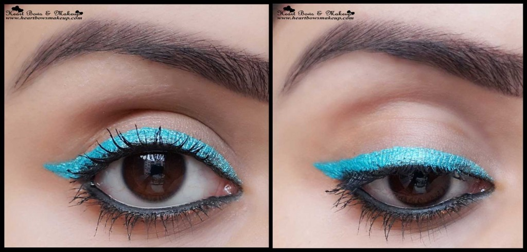 turquoise winged eyeliner indian eyemakeup