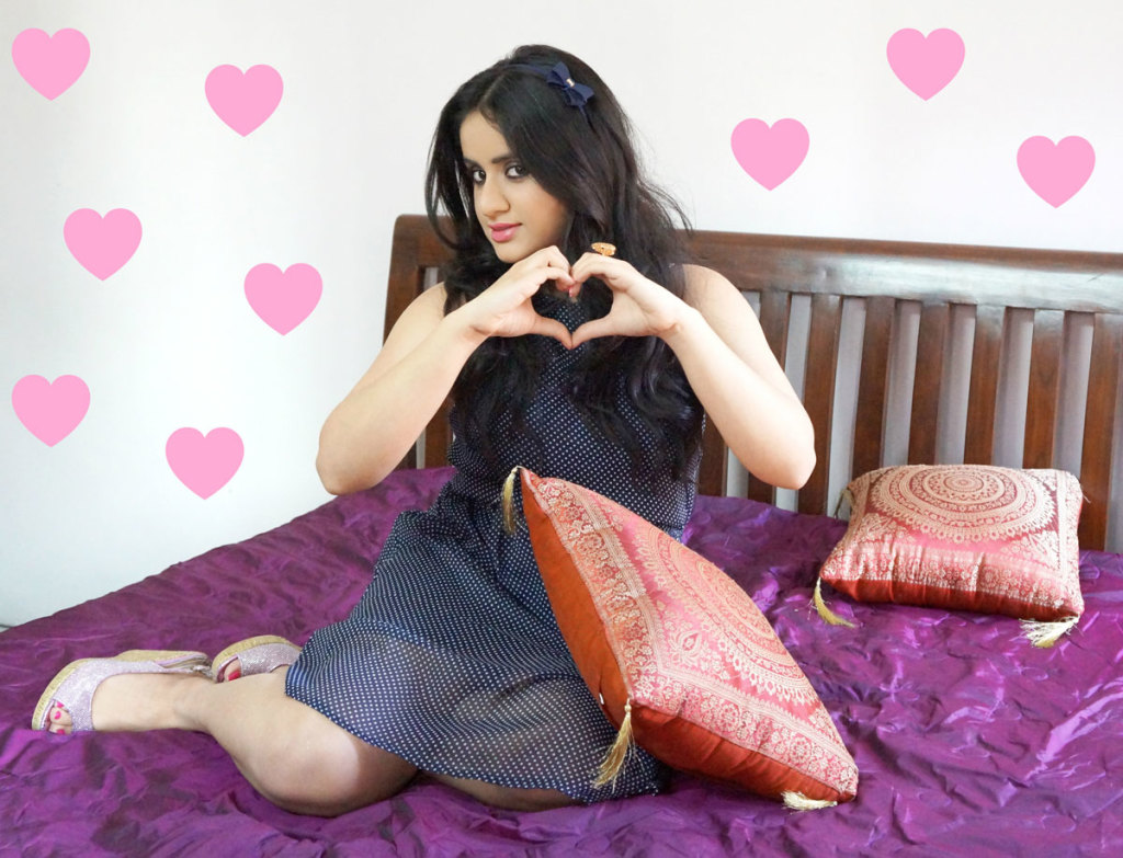 valentine's day makeup outfit fashion eyemakeup indian beauty indian makeup hearts bow hairbands blue polka dot dress