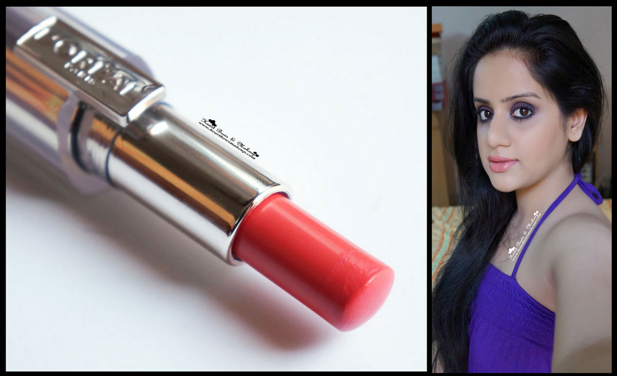 L Oreal Rouge Caresse Lipstick Dating Coral Swatch Review And Look