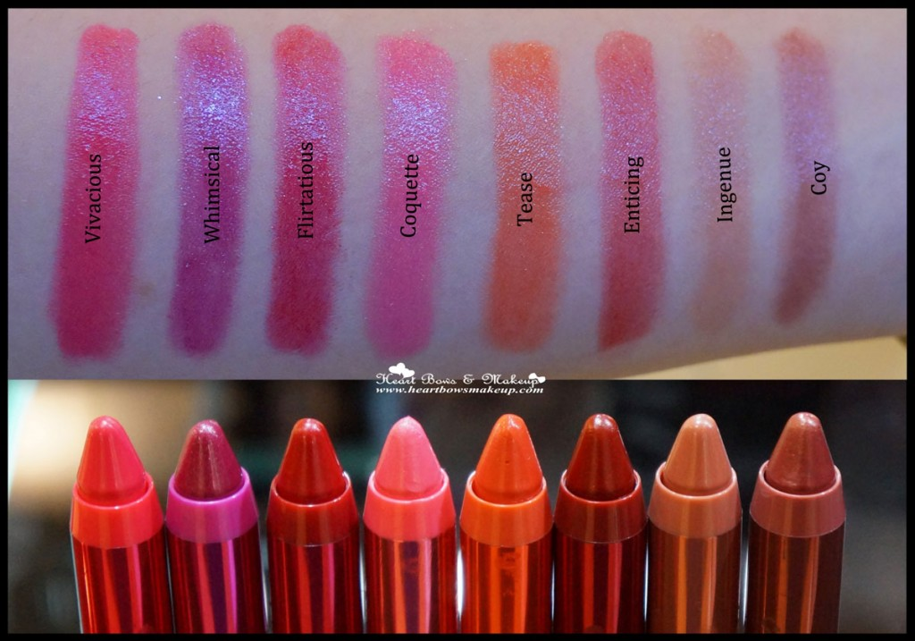 Revlon Colorburst Lacquer Balm Swatches Review Vivacious Whimsical Flirtatious Coquette Tease Enticing Ingenue Coy