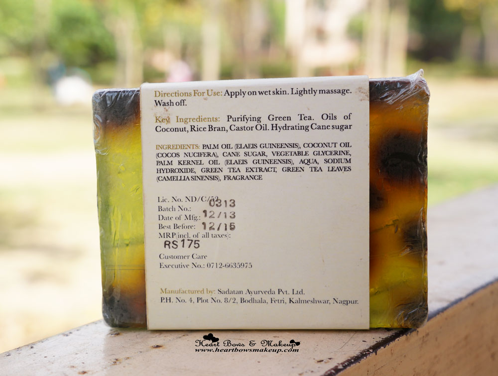 Iraya Green Tea Soap Review Ingredients Price India