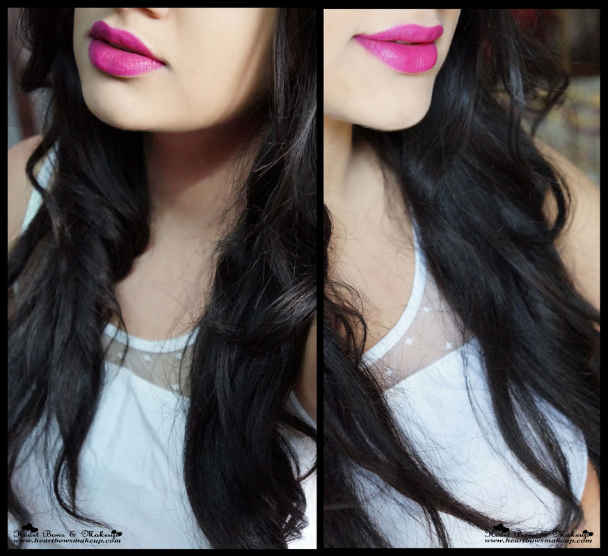 Loreal Color Riche Moist Matte Lipstick Glamor Fuchsia Review Swatch Lip Swatches on Indian Skin