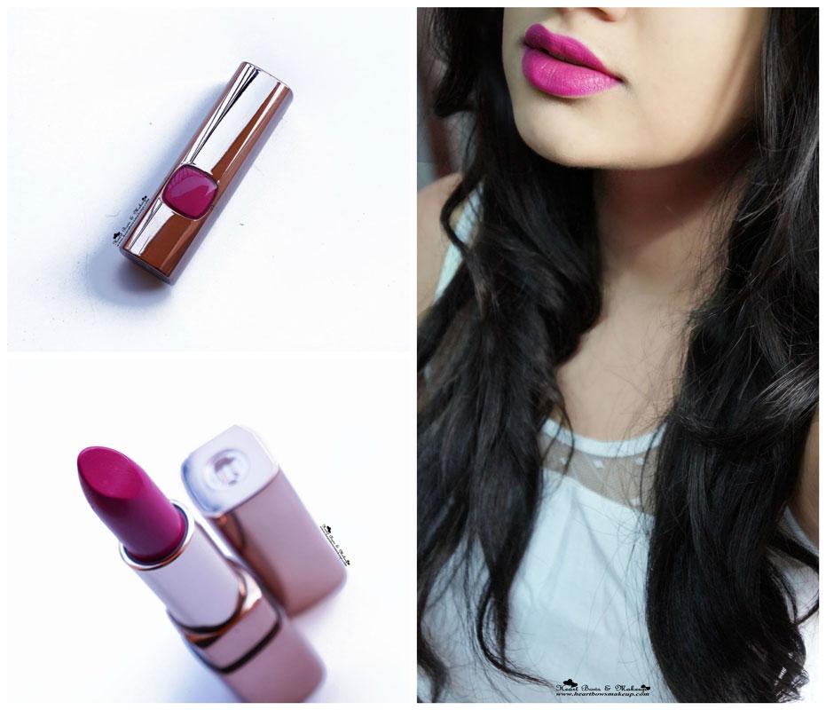 L'Oreal Color Riche Moist Matte Lipstick Glamor Fuchsia Review Swatch Price India
