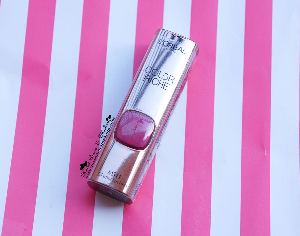 L'Oreal Moist Matte Lipstick Glamor Fuchsia Review Swatch Buy Online India