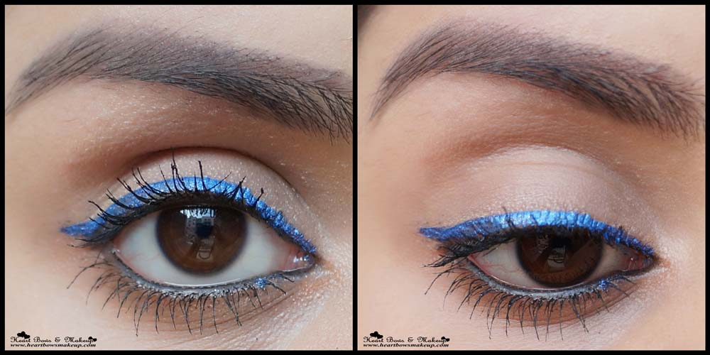 Lakme Fantasy Shimmer Eyeliner Glimmer Blue Swatch, Eyemakeup, EOTD & Review