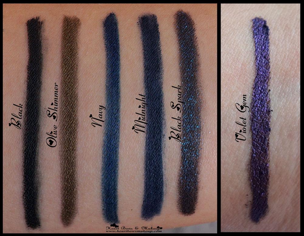 Kryolan Ikonic Gel Eye Pencil Review Swatches Black Olive Shimmer Navy Midnight Black Spark Violet Gem