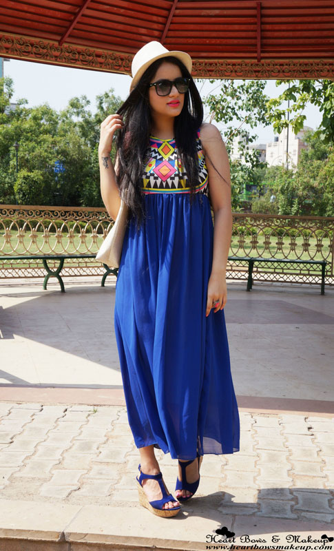Indian Fashion Blog: Aztec Maxi Dress with Blue Wedges