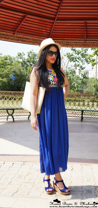 Indian Makeup & Beauty Blog: Blue Summery Maxi Dress with Wedges & a Fedora Hat
