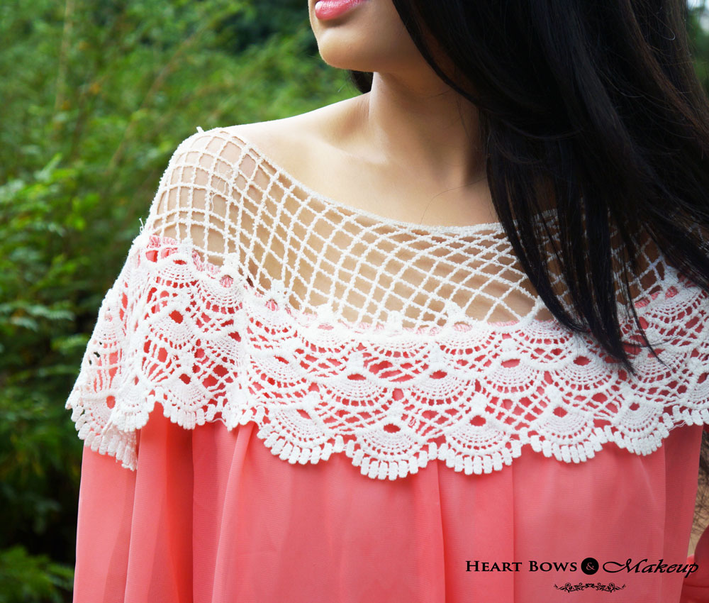 Indian Fashion & Lifestyle Blog: Sammydress Sheer & Lace Coral Top