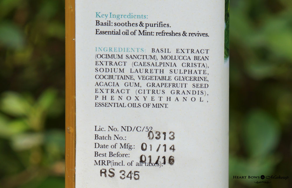 Iraya Basil & Mint Balancing Face Wash Ingredients, Review & Price