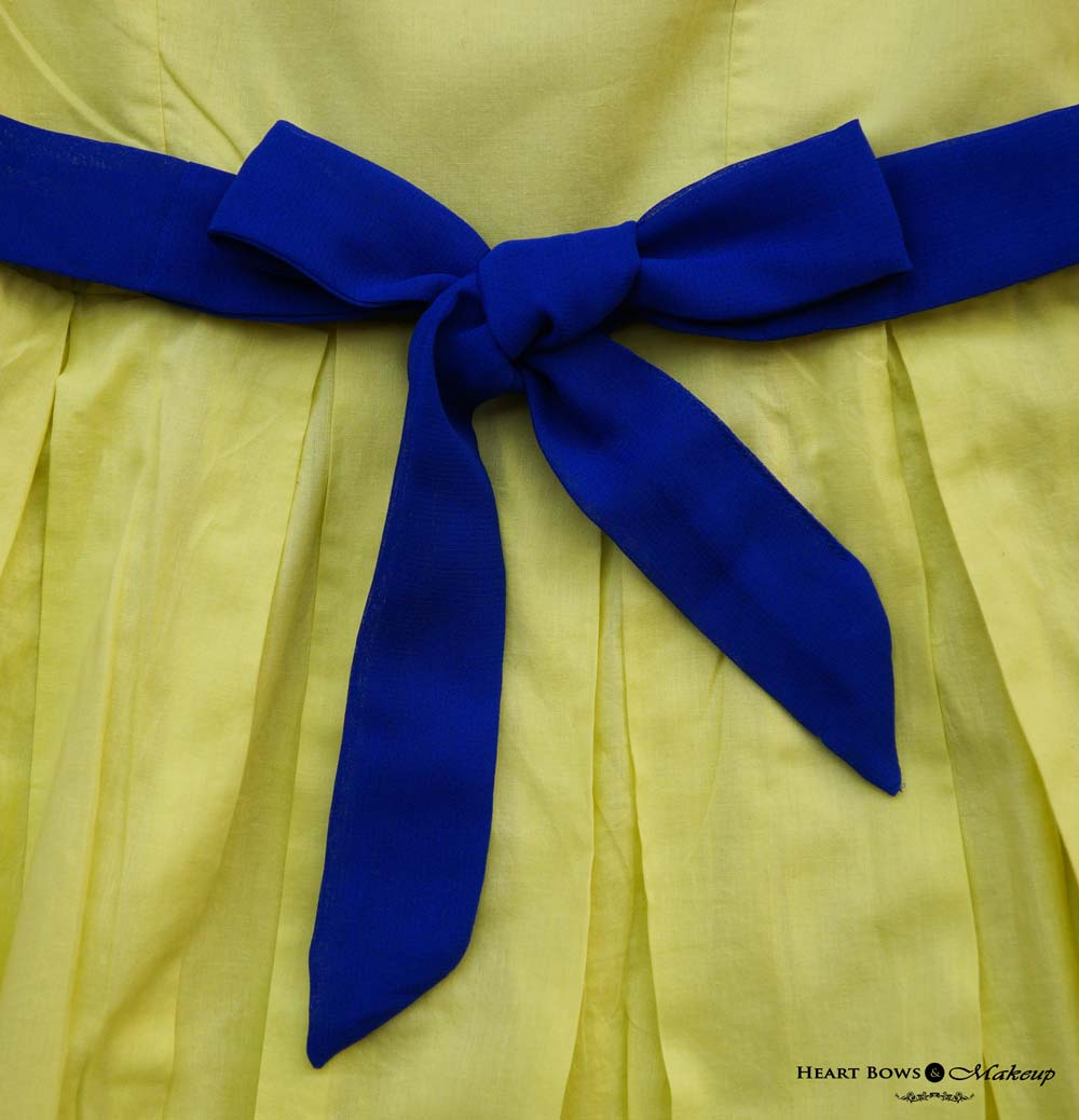 Jabong Website Review & Haul: Yellow Sold Skater Dress With a Blue Bow