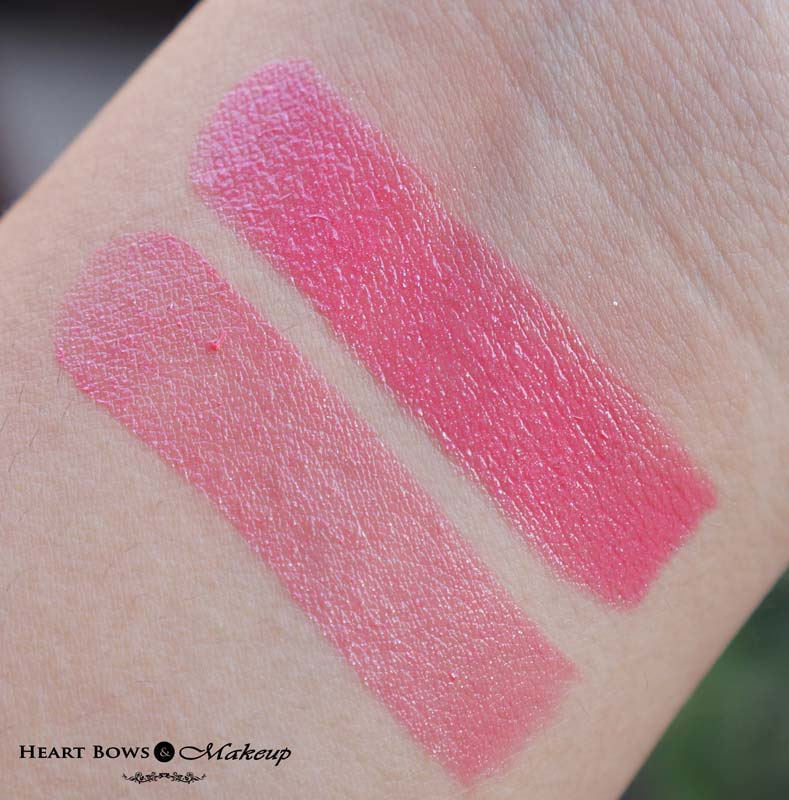 Lakme Absolute Gloss Addict Lipstick Pink Temptation Swatches & Review