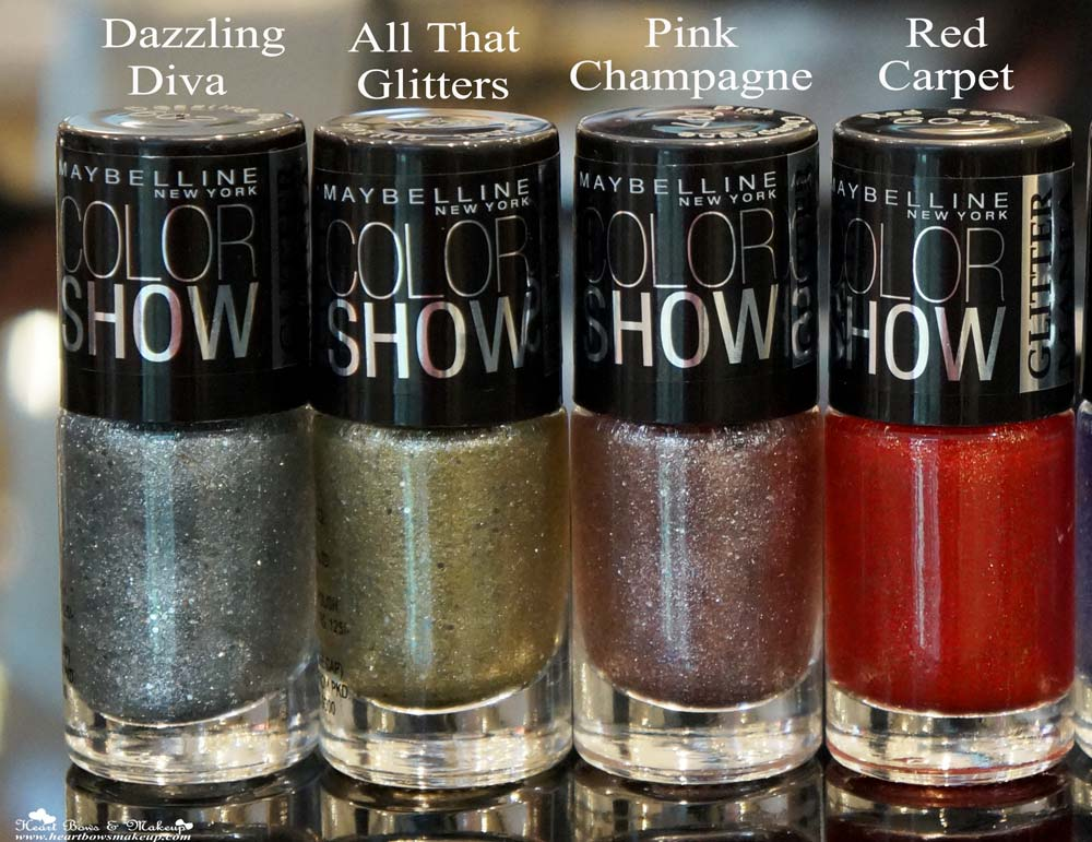 Maybelline Color Show Glitter Mania Nail Polishes Review & Shades: Dazzling Diva, All That Glitters, Pink Champagne, Red Carpet