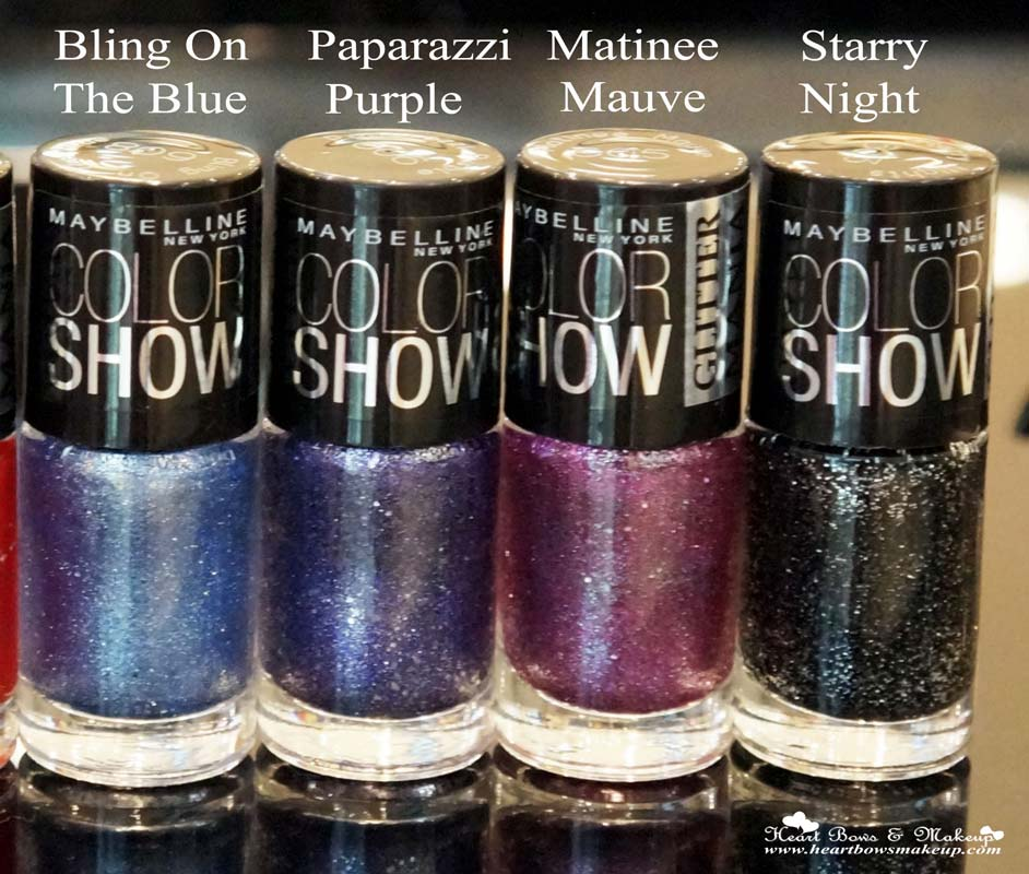 Maybelline Color Show Glitter Mania Nail Polish Review & Shades: Bling On The Blue, Paparazzi Purple, Matinee Mauve, Starry Night