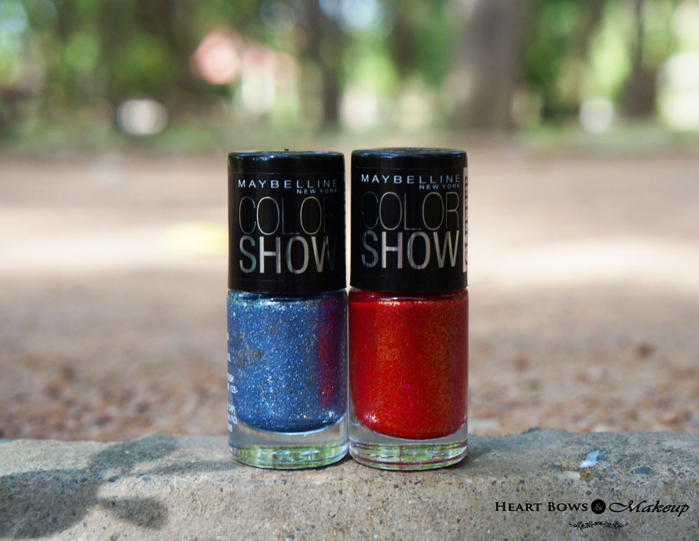 Maybelline Color Show Glitter Mania Bling On The Blue & Red Carpet Nail Polish Review, Swatches & NOTD
