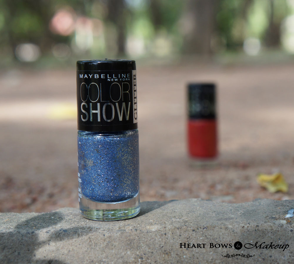 Maybelline Colorshow Glitter Mania Nail Polish Bling On The Blue Review, Swatches & Buy Online India