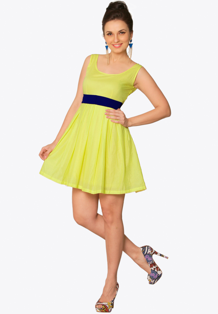 Jabong Website Review & Haul: Yellow Sold Skater Dress