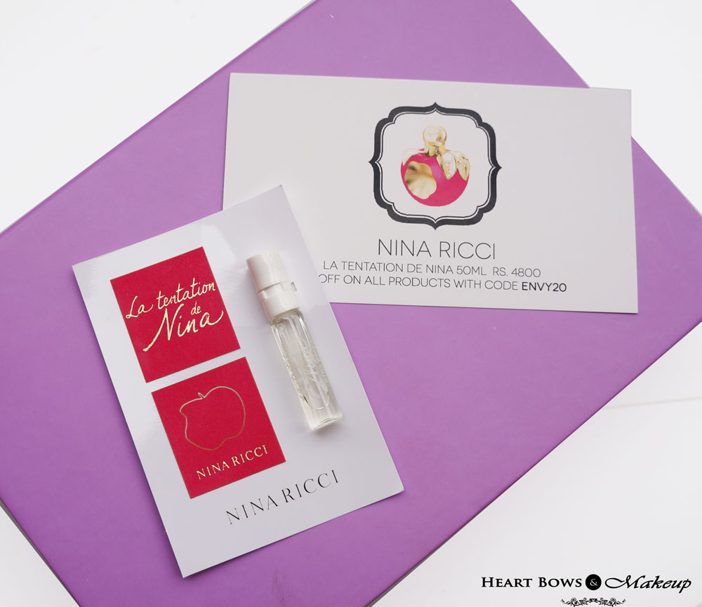 My Envy Box June Review & Samples: Nina Ricci La Tentation De Nina Perfume