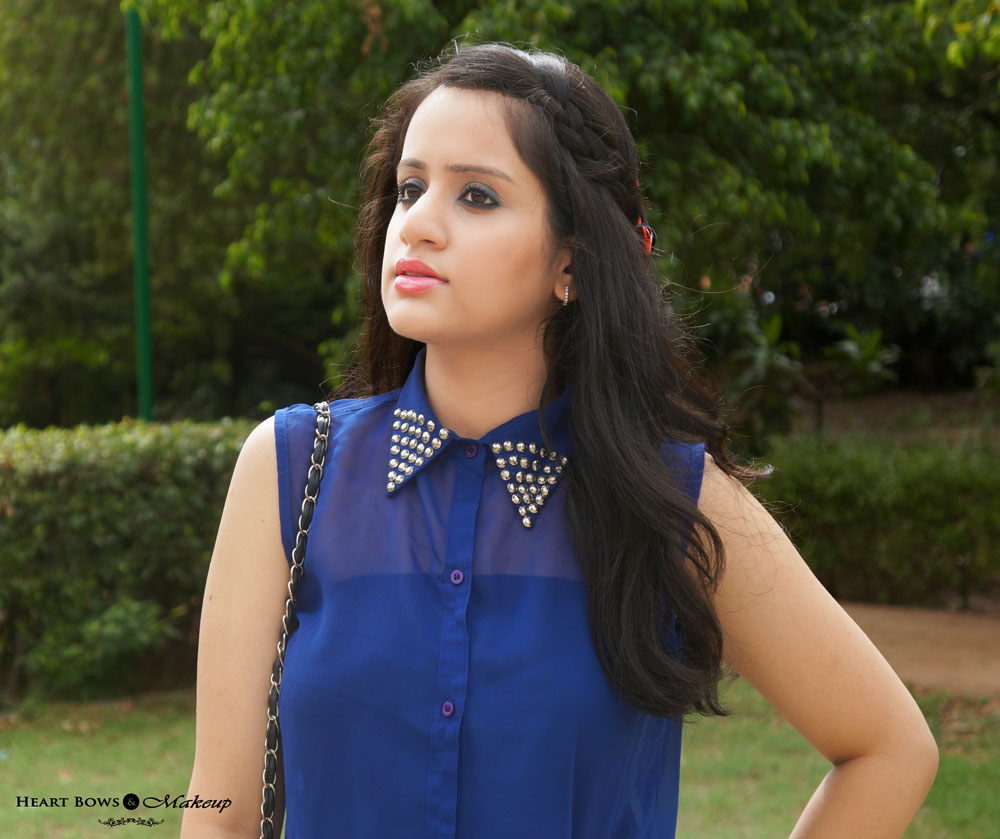 ndian Makeup & Beauty Blog: Casual OOTD feat Sheer Blue Blouse, Black Shorts & Bow Wedges