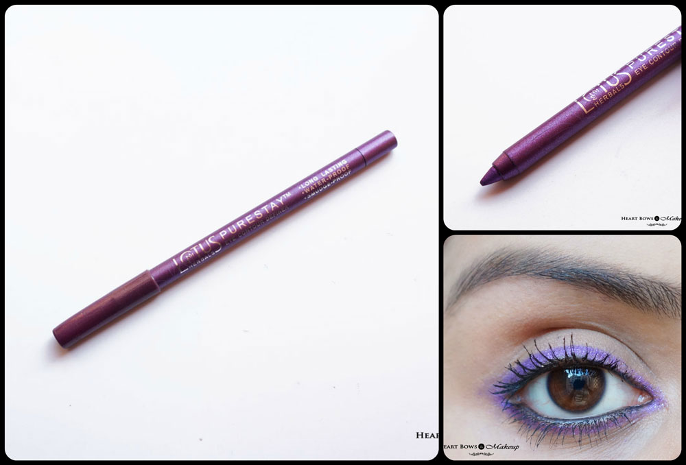 Lotus Herbals Purestay Eye Contour Definer Royal Orchid Eye Pencil Review, Swatches & Price