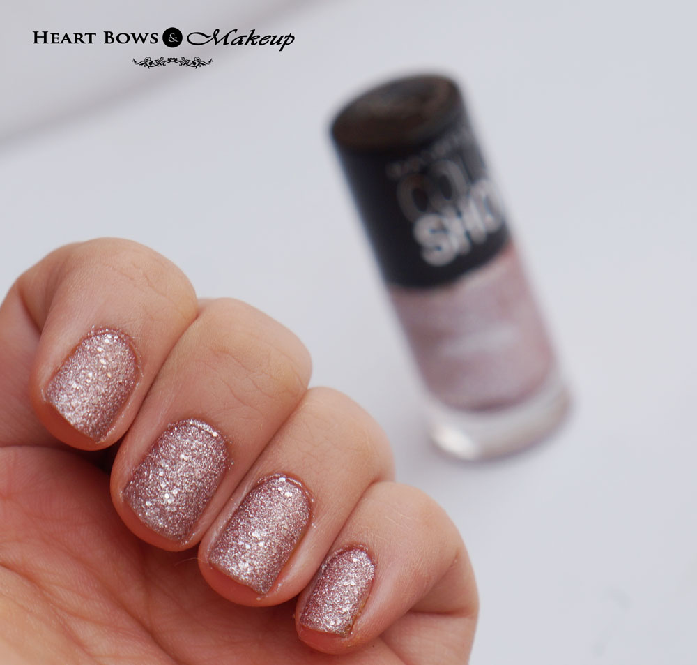 Maybelline Glitter Mania Nail Polish Pink Champagne Swatches & Review