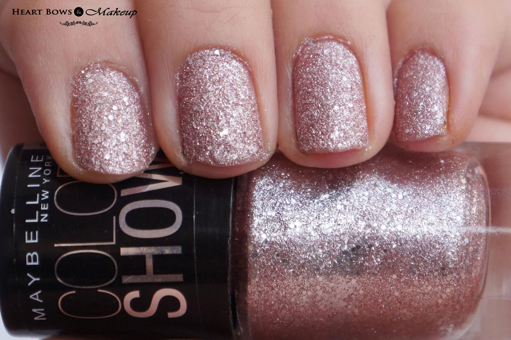 Maybelline Glitter Mania Nail Polish Pink Champagne NOTD, Swatches & Review