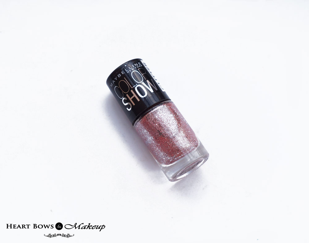 Maybelline Colorshow Glitter Mania Nail Polish Pink Champagne Review & Swatches