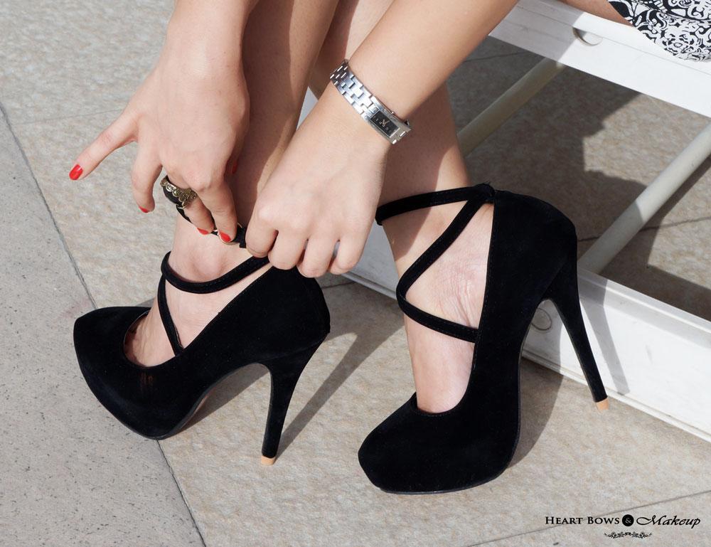 Delhi Fashion Blog: Sammydress Strappy Black Pumps & Espirit Watch