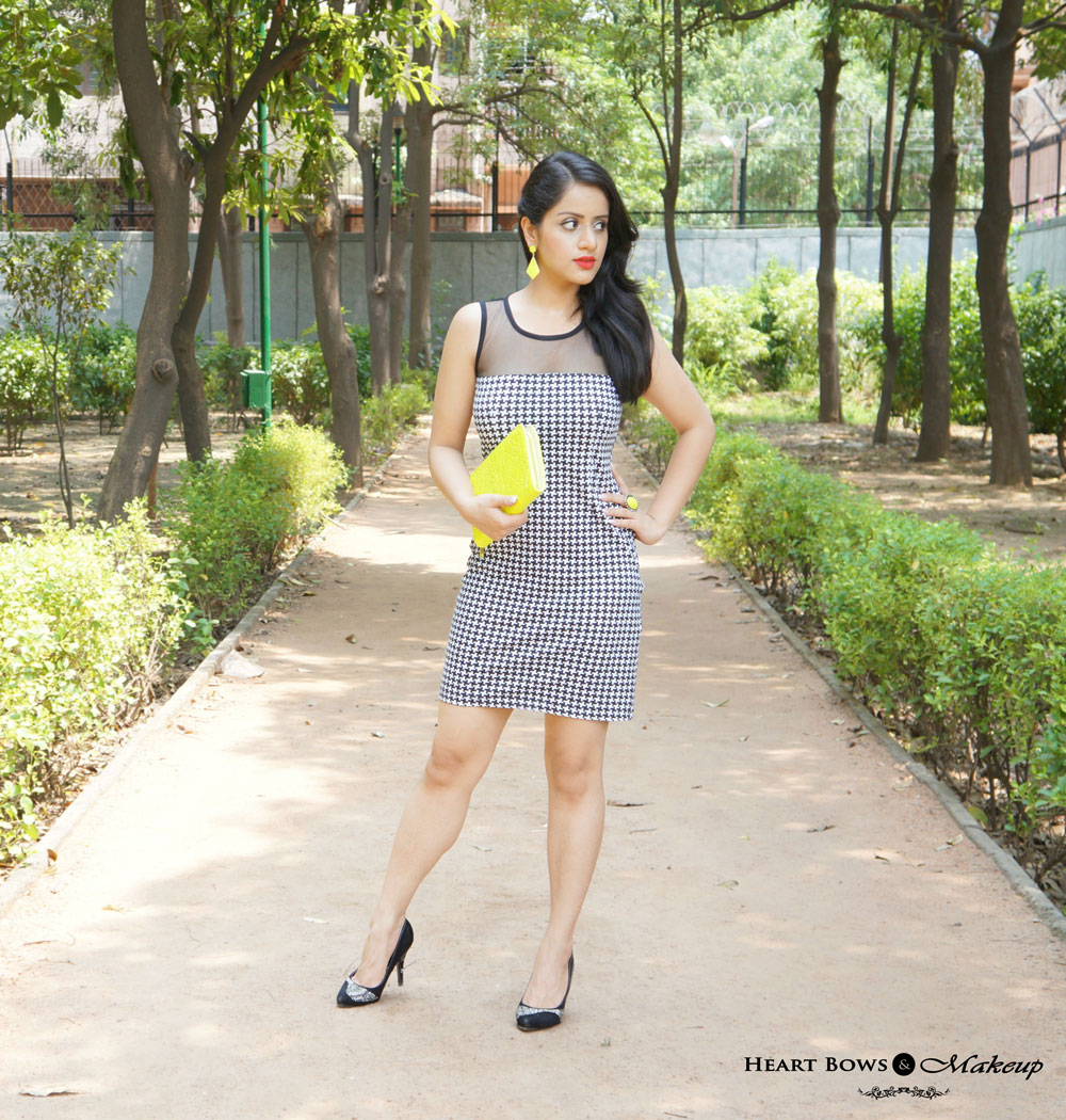 Indian Beauty & Makeup Blog: Outfit Of The Day feat Houndstooth Dress, Neon Accessories & Black Pumps