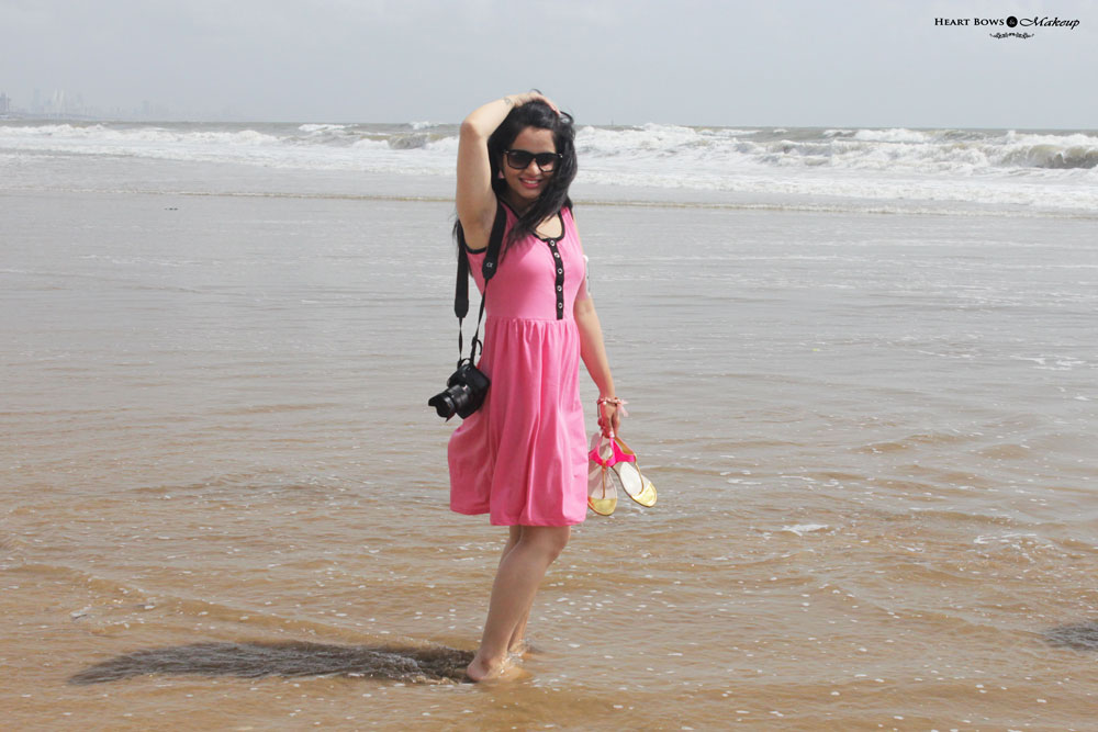 Indian Beauty & Makeup Blog: OOTD at the Beach feat a Casual Pink Dress, Neon Pink Flats & Charm Bracelet