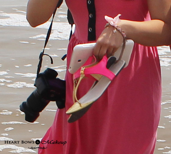 Indian Lifestyle Blog: Beach OOTD feat Pink Charm Bracelet & Neon Pink Flats