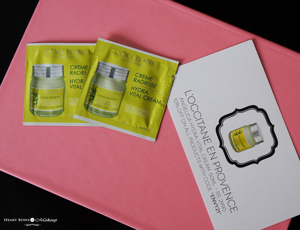My Envy Box August Review: L'Occitane Angelica Hydra Vital Cream