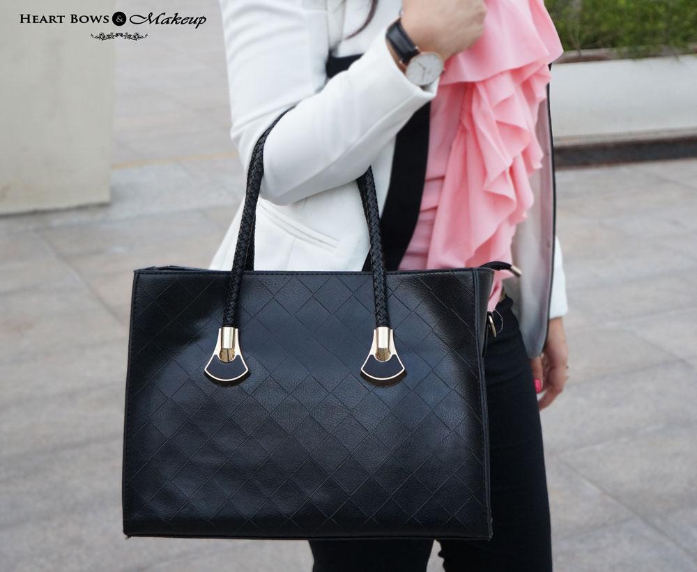 Milanoo Black Leather Tote Bag
