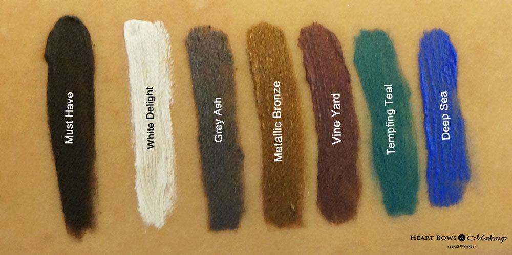 Lakme Absolute Gel Addict Liner Swatches & Review: Must Have, White Delight, Grey Ash, Metallic Brown, Vine Yard, Tenacious Teal, Deep Sea