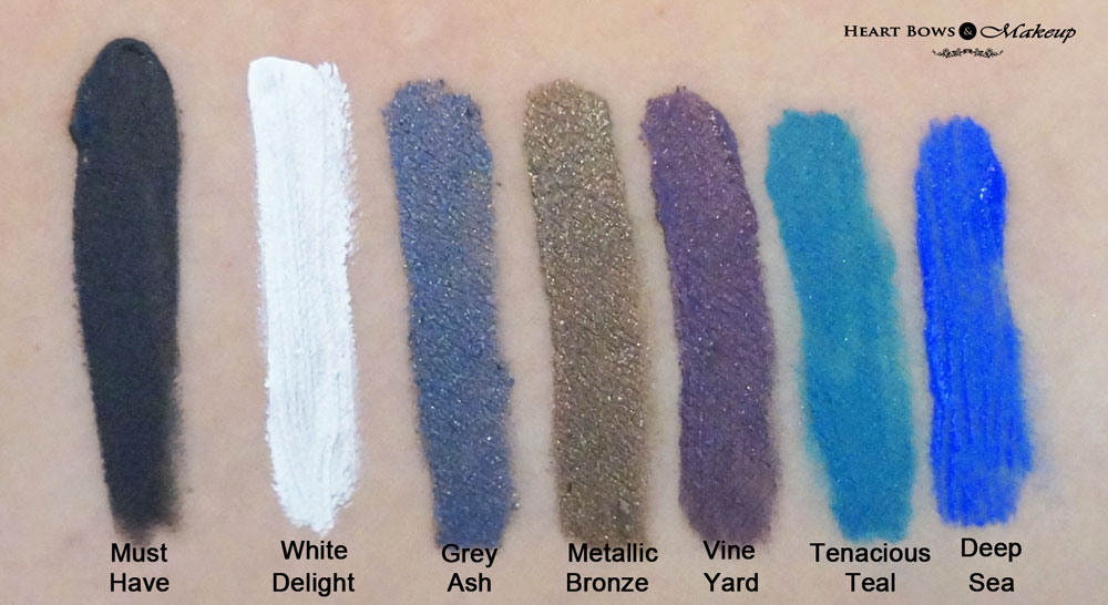 Lakme Absolute Gel Addict Eye Liner Swatches & Review: Must Have, White Delight, Grey Ash, Metallic Brown, Vine Yard, Tenacious Teal, Deep Sea